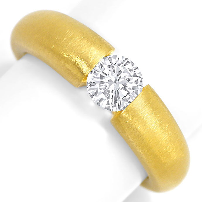Foto 2, Massiver Spannring mit 0,56ct Brilliant in 18K Gelbgold, R7023
