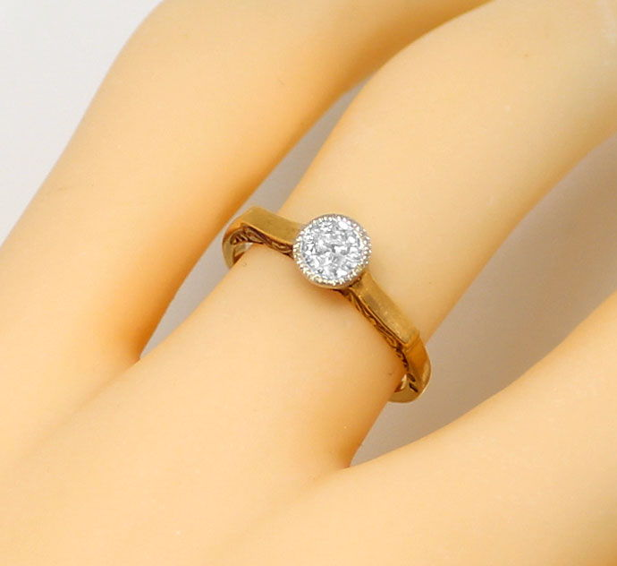 Foto 5, antiker Diamant Ring mit 0,29ct Solitaer in Rotgold 14K, R7043