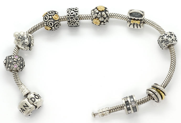 Foto 1, Pandora Armband 925, 585 Gold 9 Charms Clips Edelsteine, R7078