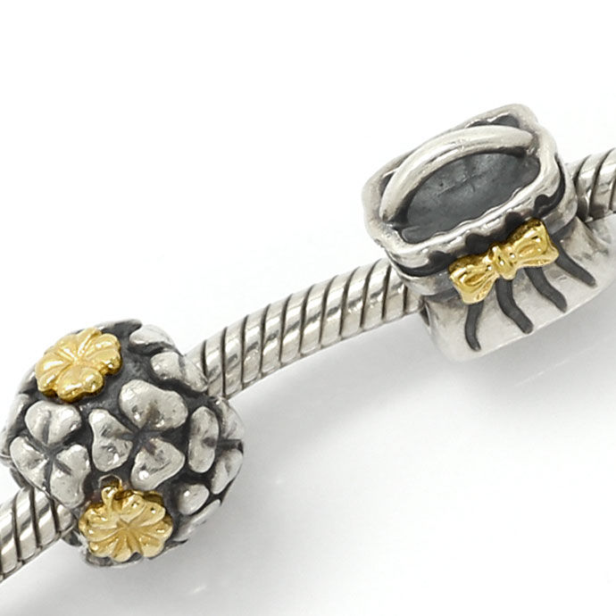 Foto 2, Pandora Armband 925, 585 Gold 9 Charms Clips Edelsteine, R7078