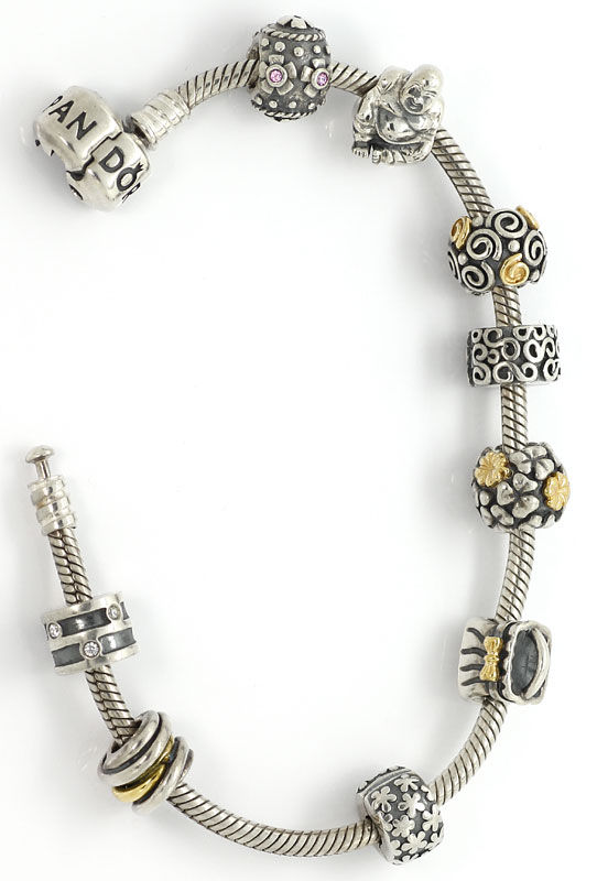 Foto 3, Pandora Armband 925, 585 Gold 9 Charms Clips Edelsteine, R7078