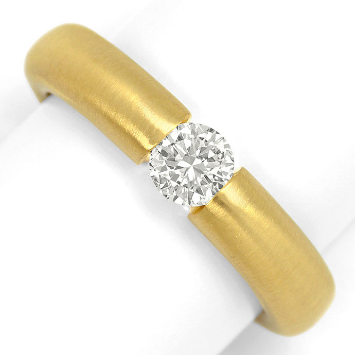 Foto 2, Brillant-Spannring mit 0,40ct Brillant, massiv 18K Gold, R7108