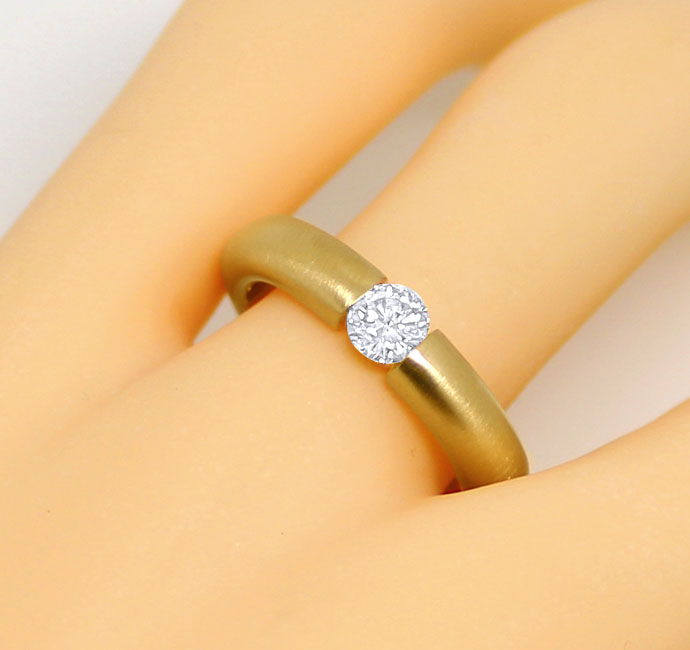 Foto 5, Brillant-Spannring mit 0,40ct Brillant, massiv 18K Gold, R7108