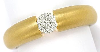 Foto 1, Massiver Gelbgold Spannring mit 0,45ct Brilliant in 18K, R7109