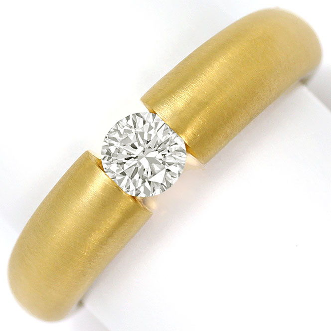 Foto 2, Massiver Gelbgold Spannring mit 0,45ct Brilliant in 18K, R7109