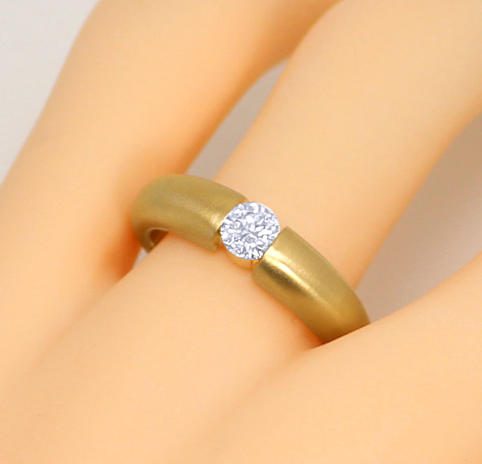 Foto 5, Massiver Gelbgold Spannring mit 0,45ct Brilliant in 18K, R7109