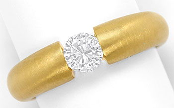 Foto 1, Massiver Gelbgold-Spannring mit 0,48ct Brilliant in 18K, R7210