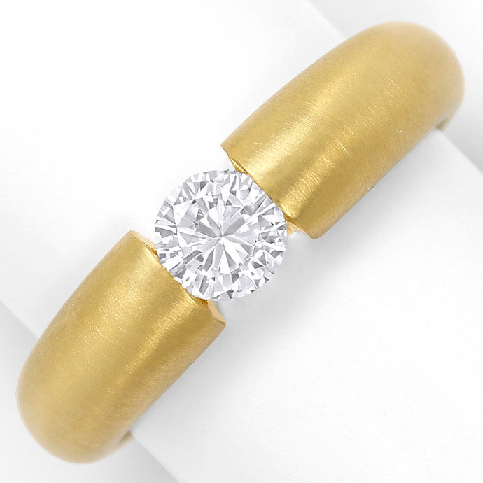 Foto 2, Massiver Gelbgold Spannring mit 0,48ct Brilliant in 18K, R7210