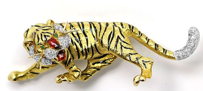 Foto 1, Sensationelle Tiger Brosche, Diamanten Emaille 18K Gold, R7229