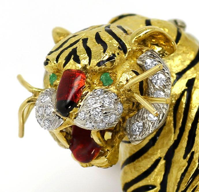 Foto 2, Sensationelle Tiger Brosche, Diamanten Emaille 18K Gold, R7229