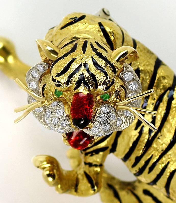 Foto 3, Sensationelle Tiger Brosche, Diamanten Emaille 18K Gold, R7229