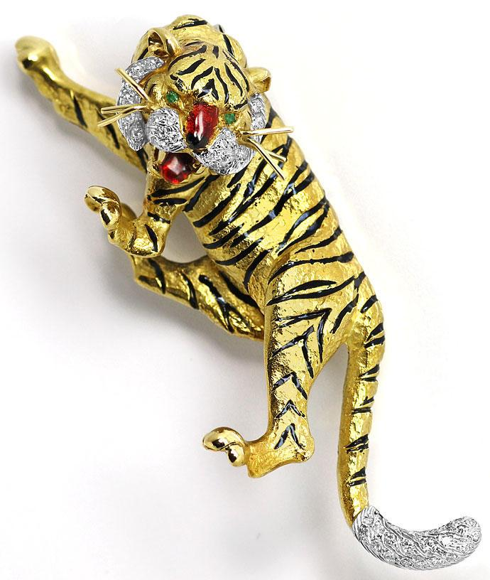 Foto 4, Sensationelle Tiger Brosche, Diamanten Emaille 18K Gold, R7229