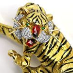 Sensationelle Tiger Brosche, Diamanten Emaille 18K Gold