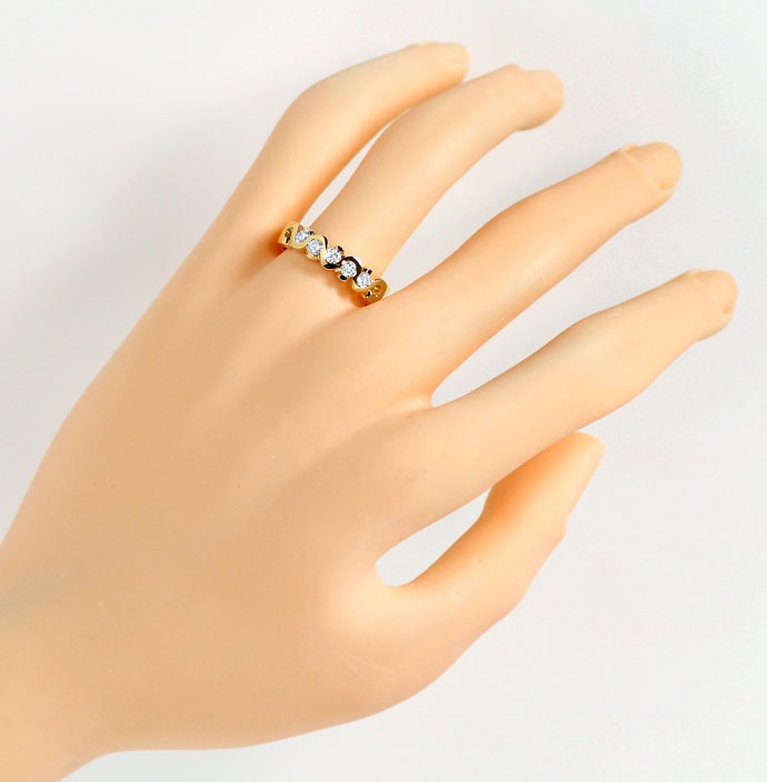 Foto 4, Halbmemoryring mit 0,44ct Brillanten in massiv 18K Gold, R7321