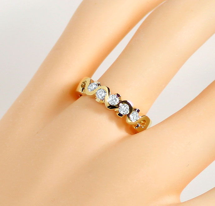 Foto 5, Halbmemoryring mit 0,44ct Brillanten in massiv 18K Gold, R7321