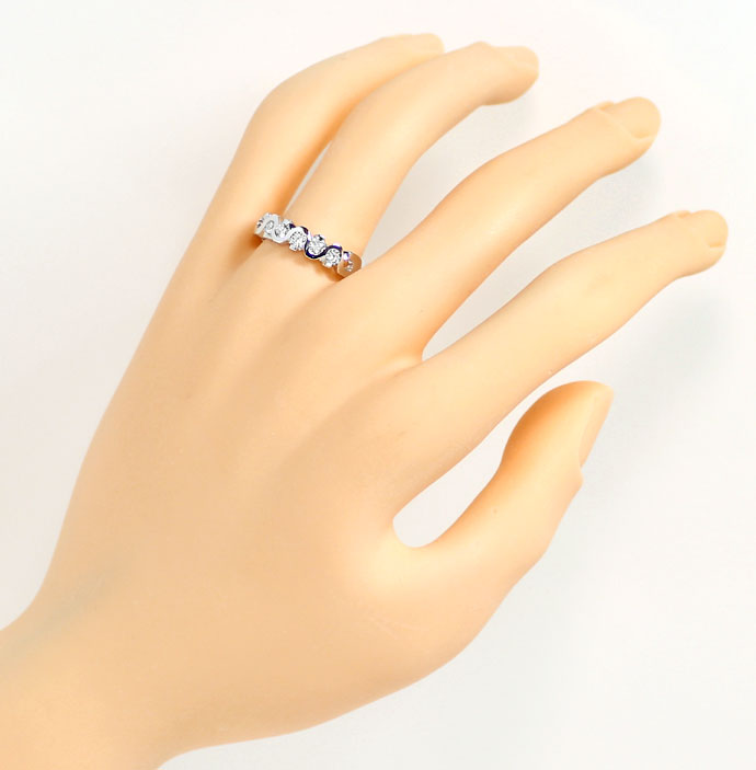 Foto 4, Brillanten Halbmemory Ring 0,43ct, LC, in 18K Weissgold, R7322