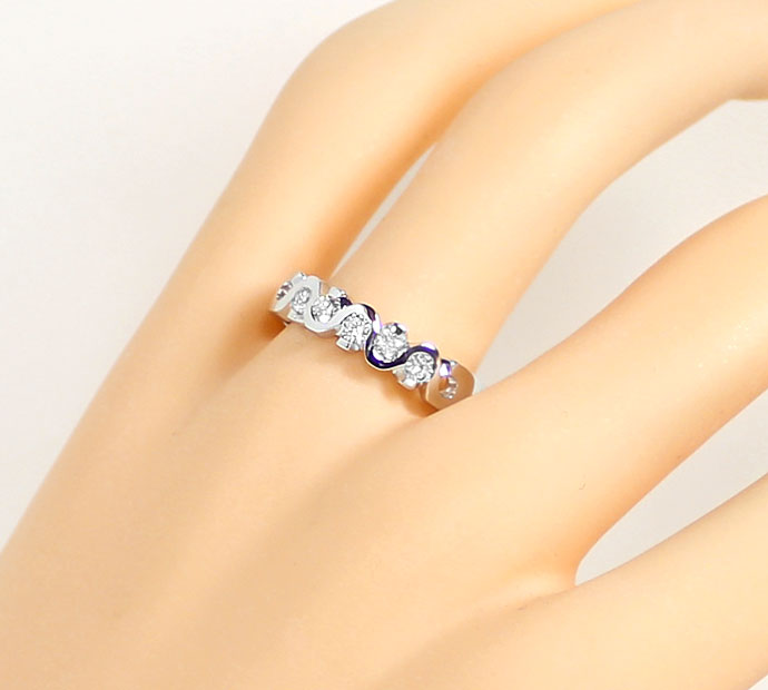 Foto 5, Brillanten Halbmemory Ring 0,43ct, LC, in 18K Weissgold, R7322