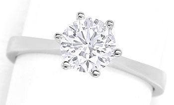 Foto 1, Brillant-Solitaer-Ring 1,05ct Top Wesselton F Lupenrein, R7483