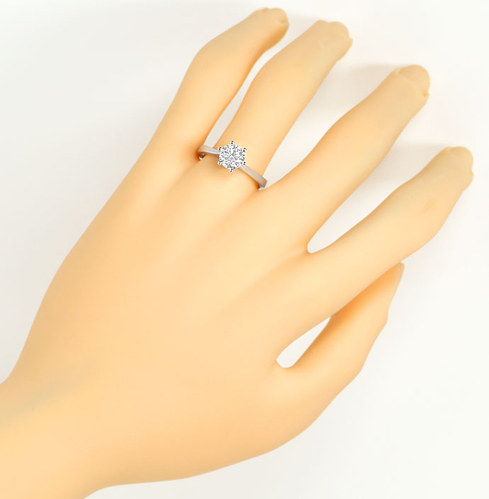 Foto 4, Brillant Solitaer Ring 1,05ct Top Wesselton F Lupenrein, R7483