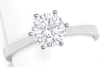Foto 1, Brillant Solitär 1,09ct Top Wesselton F in Weißgoldring, R7490