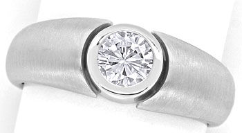 Foto 1, Diamantring mit 0,50ct Brillant in Zarge, 18K Weissgold, R7619