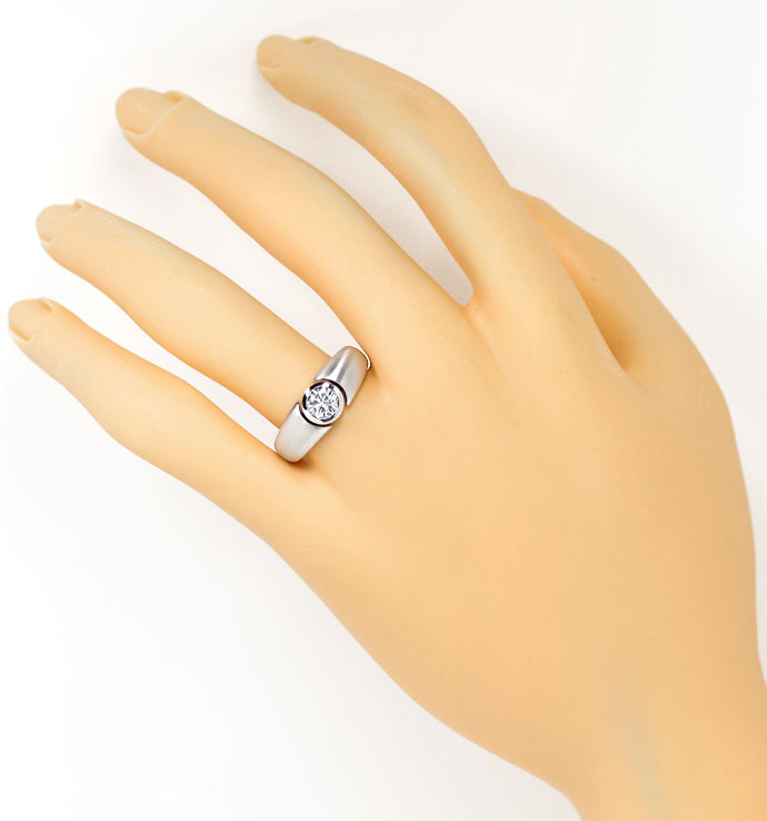 Foto 4, Diamantring mit 0,50ct Brillant in Zarge, 18K Weissgold, R7619
