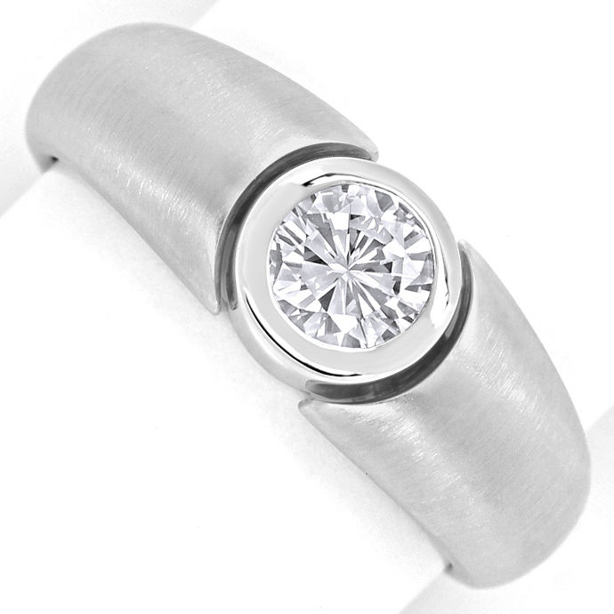 Diamantring mit 0,50ct Brillant in Zarge, 18K Weissgold, Designer Ring