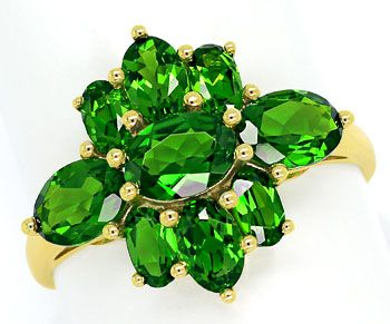 Foto 1, 4,0ct grüne Super-Diopside in dekorativem Gelbgold-Ring, R7629