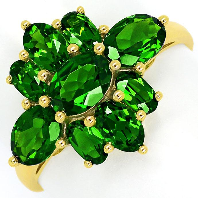 Foto 2, 4,0ct grüne Super-Diopside in dekorativem Gelbgold-Ring, R7629