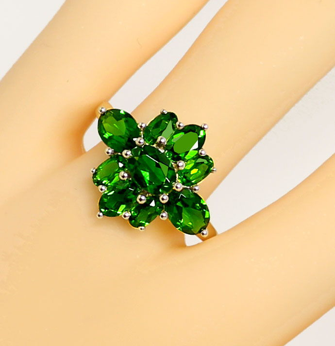 Foto 5, 4,0ct grüne Super-Diopside in dekorativem Gelbgold-Ring, R7629
