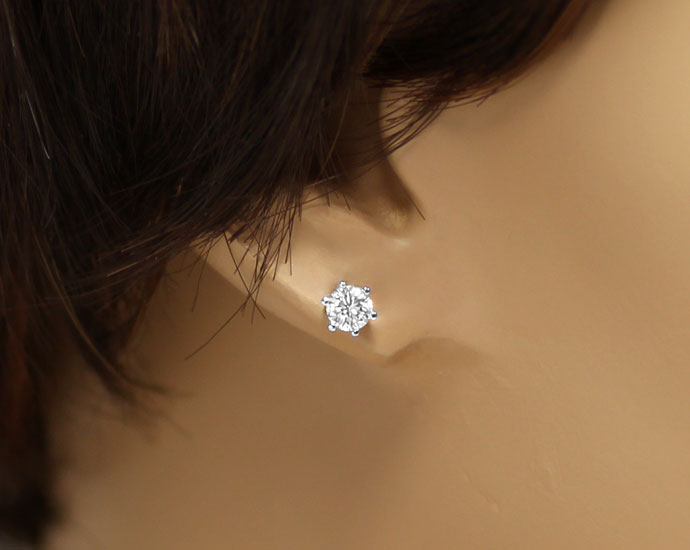 Foto 3, Brillantohrstecker mit 0,5ct Diamanten in 18K Weissgold, R7682