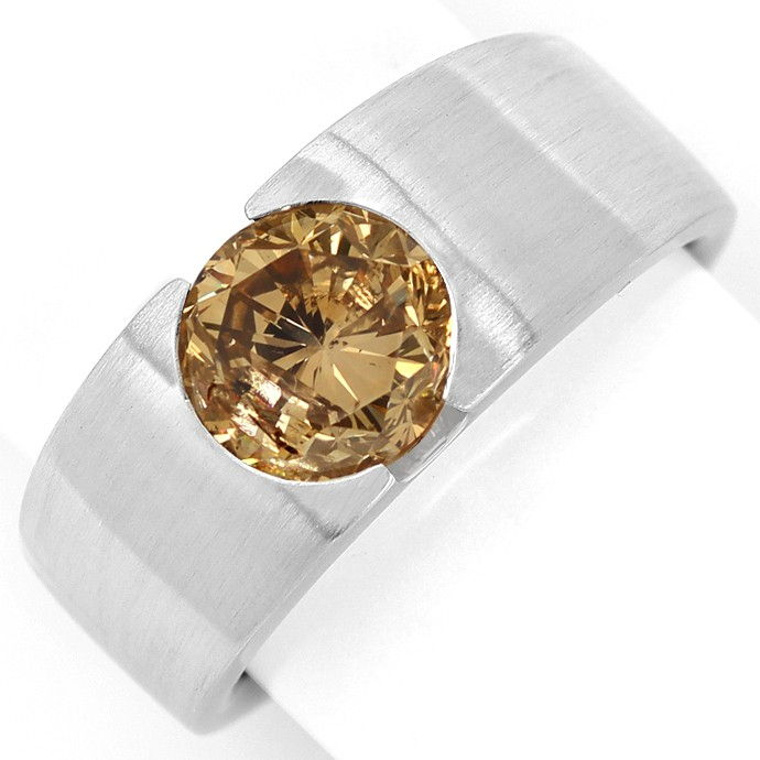 Diamantring mit 3,05ct Brillant Bronze Kupfer Weissgold, Designer Ring