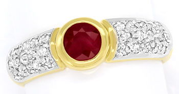 Foto 1, Diamantring Goldbandring mit 0,65ct Rubin und Diamanten, R7761