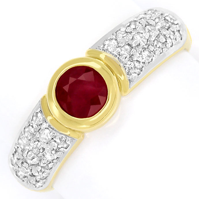 Foto 2, Diamantring Goldbandring mit 0,65ct Rubin und Diamanten, R7761