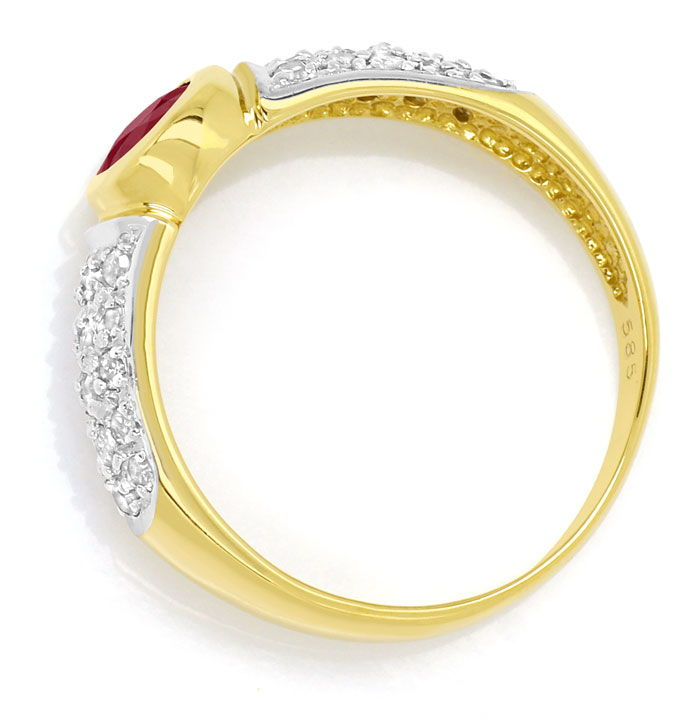 Foto 3, Diamantring Goldbandring mit 0,65ct Rubin und Diamanten, R7761
