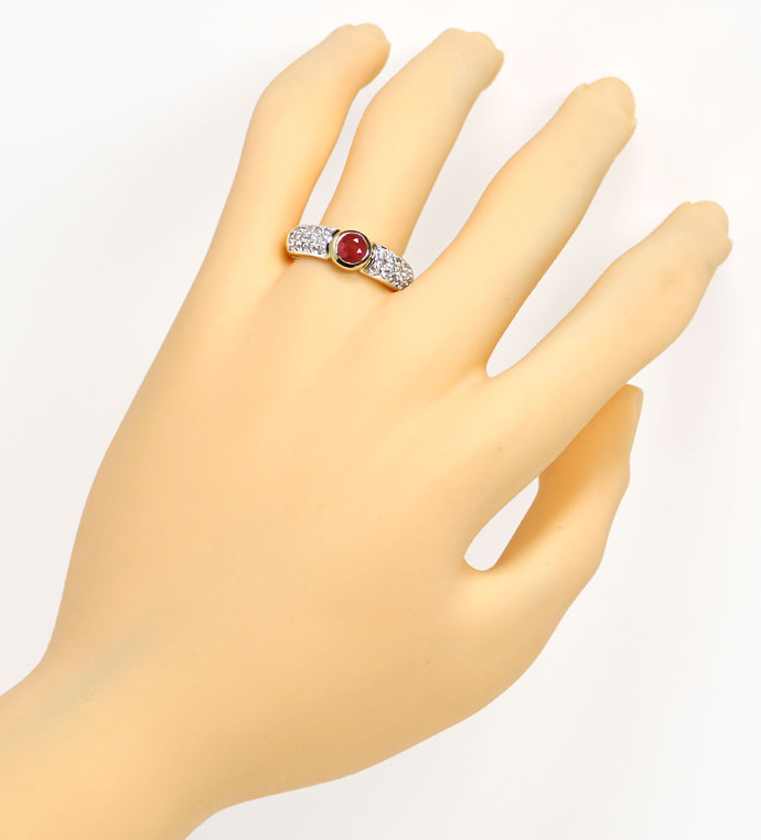 Foto 4, Diamantring Goldbandring mit 0,65ct Rubin und Diamanten, R7761