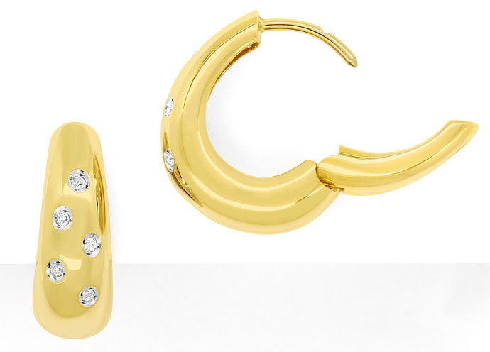Foto 1, Kreolen Ohrringe mit 0,12ct River Diamanten in Gelbgold, R7773