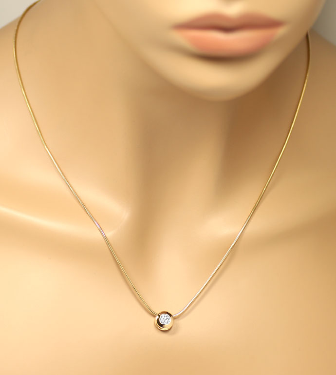 Foto 5, Diamantkollier mit 0,47ct River Brilliant, 18K Gelbgold, R7819