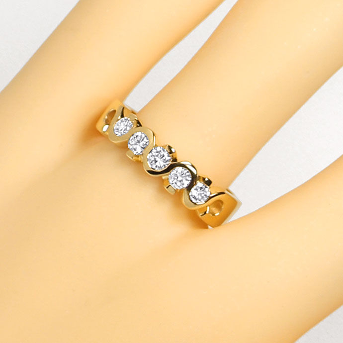Foto 5, Diamantring Halbmemory Ring 0,48ct Brillanten, Gelbgold, R7844