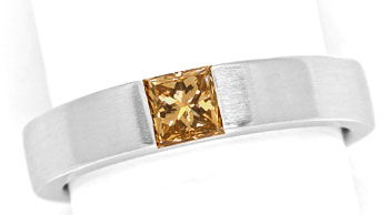 Foto 1, Weissgoldring 0,56 ct Princess Diamant Fancy Brown, IGI, R7851