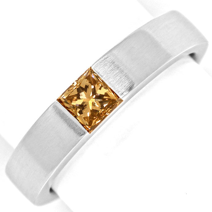 Foto 2, Weissgoldring 0,56 ct Princess Diamant Fancy Brown, IGI, R7851