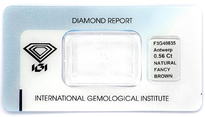 Foto 9, Weissgoldring 0,56 ct Princess Diamant Fancy Brown, IGI, R7851