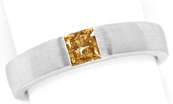 Foto 1, Diamant Ring 0,54ct Princess Diamant IGI, 18K Weissgold, R7852