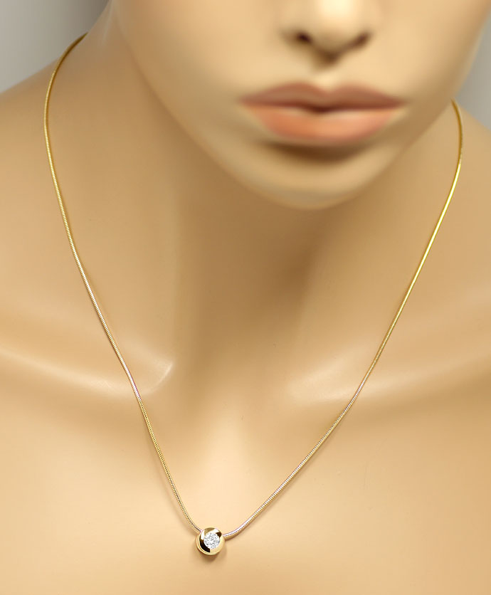 Foto 4, Diamantkollier 0,42ct Brillant in Zarge massiv 18K Gold, R7861