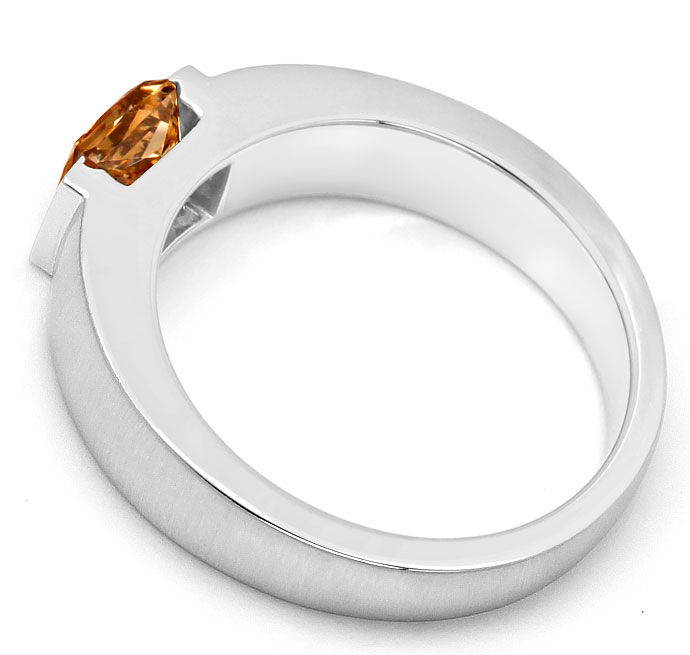 Foto 3, Ring mit 1,06ct Princess-Diamant Lupenrein, Fancy Brown, R7866