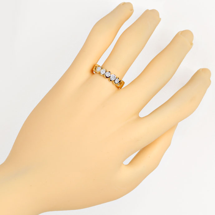 Foto 4, Diamantring Brillant Halbmemory Ring 0,45ct in Gelbgold, R7867