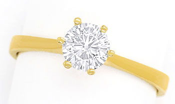 Foto 1, Diamantring mit 0,58ct Top Wesselton Brillant, 18K Gold, R7869