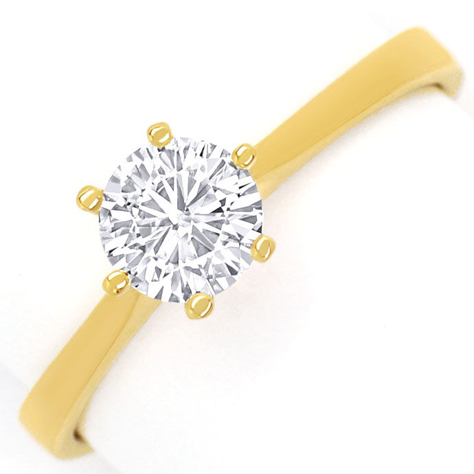 Foto 2, Diamantring mit 0,58ct Top Wesselton Brillant, 18K Gold, R7869
