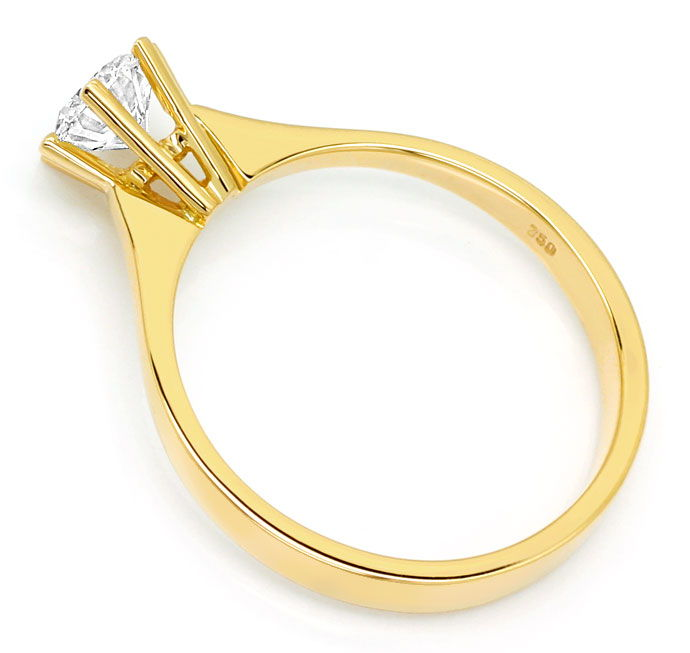 Foto 3, Diamantring mit 0,58ct Top Wesselton Brillant, 18K Gold, R7869