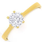Diamantring mit 0,58ct Top Wesselton Brillant, 18K Gold
